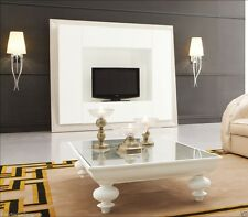 Coffee Table - Solid Wood - Designer Modern White Coffee Table w/ Glass Top Roma