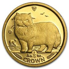 Isle of Man Gold 1/5 Crown Cat BU/Proof - SKU #49667