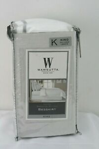 """Wamsutta Hotel Baratta Stitch Bedskirt in White/Charcoal King Size with 15"""" Drop"""