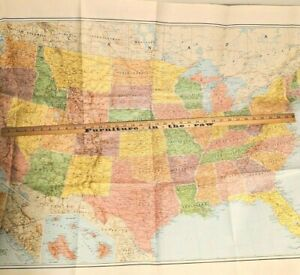 "Vintage 1950s Allstate Ins Co US Wall Map GIANT Poster 54""x36""  -- 2793"