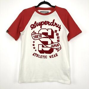 Mens SUPERDRY Athletic Wear White Red Casual T-Shirt Size S - Small