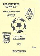Reserves Teams S-Z Football Pre-Season Fixture Programmes