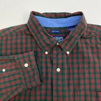 Chaps Button Up Shirt Mens XXLT Green Red Plaid Easy Care Long Sleeve Casual
