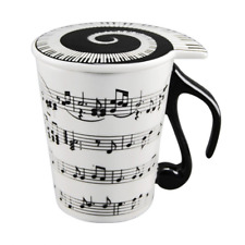 HLJgift Creative Ceramic Musician Coffee Mug Tea Cup with Lid Staves Music Notes