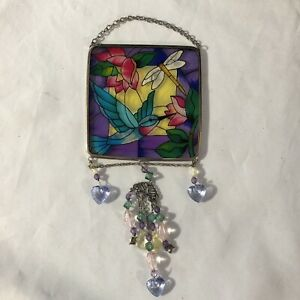 HUMMING BIRD & DRAGONFLY JEWELS STAINED GLASS WINDOW DECORATION