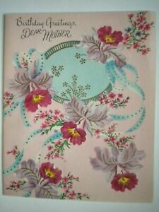 """VINTAGE FRENCH-FOLD """"BIRTHDAY GREETINGS, DEAR MOTHER"""" GREETING CARD + ENVELOPE"""