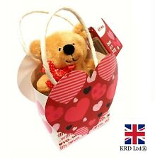 """4.5"""" SOFT TEDDY BEAR IN A GIFT BAG Valentine Day Rose Red Love Heart Design UK"""