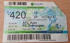 Sammler Used Ticket / Entrada Ajax Amsterdam v FC Groningen 26-04-2016
