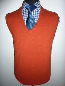 Mens Munrospun Tank top Sleeveless Jumper Wool Orange Knit Sweater V Neck Large