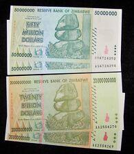 4 Zimbabwe Banknotes-2 x 50 Million & 2 x 20 Billion Dollars-About UNC currency
