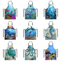 Blue Sea Cool Aprons for Men Women With Pocket Waterproof Chef Kitchen BBQ Apron