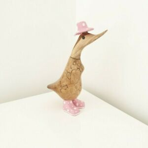 Bamboo Duck Wooden Duck Garden Ornament Welly Wellington Boots Approx 25cm / 10""