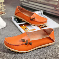 Women's Casual Driving Peas Moccasin Leather Loafers Single Flats Boat Shoes