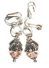Drop Dangle Silver Pink Crystal Clip On Earrings Glass Bead Tibetan Style