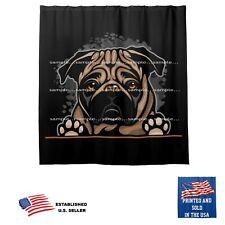 Pug Dog Splash On Black Bathroom Fabric USA Shower Curtain