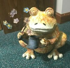 """Whimsical Frog -Approx. 10"""" - Holding Watering Can & Flowers"""