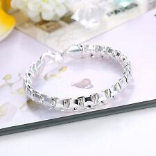 925 Sterling Silver Charm Chain Bangle Womens Fashion Bracelet DLH137