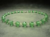 Vintage Bohemian Faceted Green & Clear Crystal Glass Bead Necklace