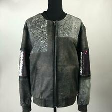 NWT FAP FILLES A PAPA Lead Black Leather Jacket Full Zip Sequins Womens Size S 1