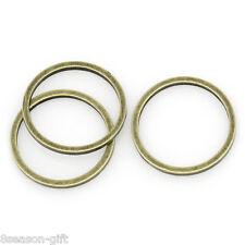 100PCs Copper Circle Hoop Ring Connectors Pendants Bronze Tone 12mmDia.