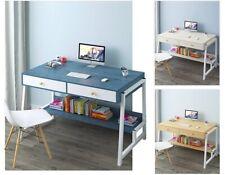 1M MDF Metal Frame Computer Desk Study Writing Table 2 Drawers Bookshelf