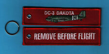 DC-3 Dakota Remove Before Flight embroidered Key Ring/Tag - New