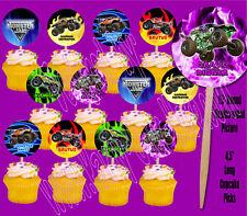Monster Jam Trucks Cupcake Picks Cake Toppers -12 pcs