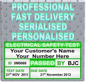 999 PAT Testing Personalised Labels Plug Size Sticker