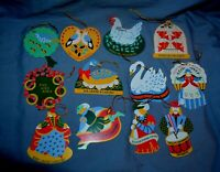 Complete Set Of Vintage Avon 12 Days of Christmas Metal Ornaments Double Sided