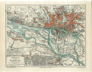 1895 GERMANY HAMBURG CITY PLAN and SUBURBS Antique Map