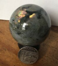 UK NEW NATURAL LABRADORITE CRYSTAL STONE SPHERE BALL + STAND 50MM 175 GRAMS