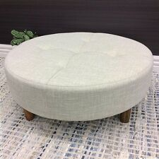 LARGE ROUND COFFEE TABLE OTTOMAN FABRIC SIDE STOOL CHAIR FOOT REST 90CM BEIGE