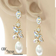 CLEARANCE WHITE PEARL AB and CLEAR CRYSTAL EARRINGS BRIDE WEDDING FORMAL JEWELRY