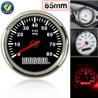 85mm 0-8000RPM LCD Tachometer Gauges Rev Counter For Car Boat W/Red Backlight