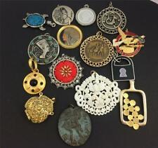 15 Vintage Lot Costume Jewelry BIG PENDANTS  Silver /Gold Tone, Enamel & other