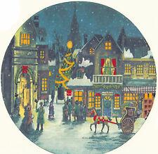Ceramic Decals Vintage City Christmas Holiday Scene