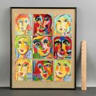 9 Small FAUVIST Pop-Art MCM Expressionist Acrylic Portrait Paintings by TEMME <br/> Unique! Bold! ... NO RESERVE!