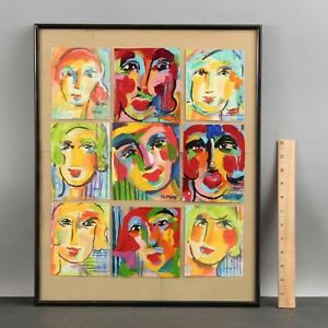 9 Small FAUVIST Pop-Art MCM Expressionist Acrylic Portrait Paintings by TEMME