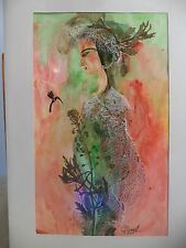 Cuban CUBA CHAMART Artist Charo Hand SIGNED Painting LADY BIRD ORNAGE GREEN 38
