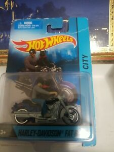 Hot Wheels CITY HARLEY-DAVIDSON FAT BOY Motorcycle w/Rider & Dog, Rare