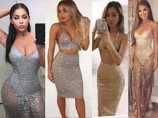 Women Glitter Sheer Evening Party Midy Dress Bodycon Skirt 2 Piece Set Crop Top