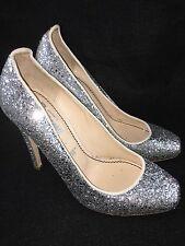 Jerome C. Rousseau Aizza Silver Glitter Sparkly Pumps Heels Size 36.5 US 6.5