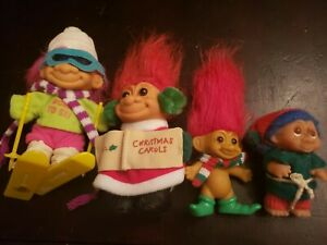 """Lot Of 4 Early 90's Russ 5"""" and 3.5"""" Christmas/Winter Trolls."""