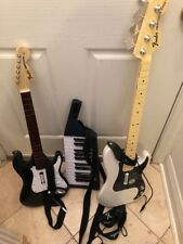 Xbox Guitars And Wireless Keyboard All Untested Fender Stratocaster Precision Ba