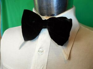 Vintage 60s 70s Big Black Velvet Strap On Adjustable Bow Tie Prom Formal Vegas
