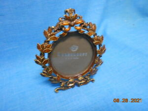 Autumn Bronze Leaves and Gold Highlights Oval Little Frame, Red Stones. No Box.