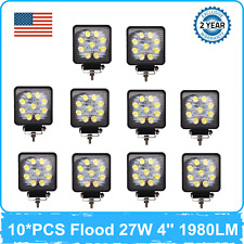 10X 27W 4''in LED Work Light Flood 6000K Toyota Chevy UTB Hummer Ford F150 F250