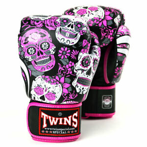 Twins FBGVL3-53 Pink Skull Leather Boxing Gloves Sparring Kickboxing Muay Thai