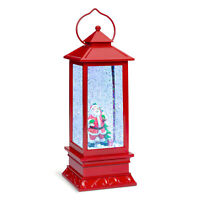 BCP Pre-Lit Glitter Water Snow Globe Lantern Holiday Decoration w/ Santa