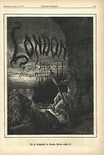 VINTAGE WOODCUT PRINT - LONDON BY GUSTAVE DORE - COVER PAGE HARPER'S WEEKLY 1872